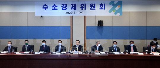 [포토] 수소경제위원회 첫 회의 주재하는 정세균 총리